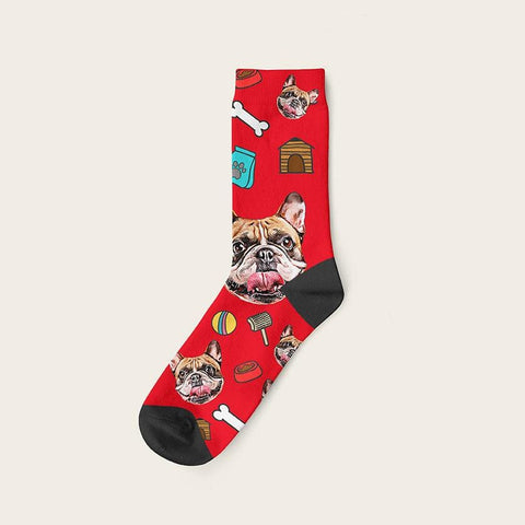 Custom Dog Socks Mashup Crew / Red