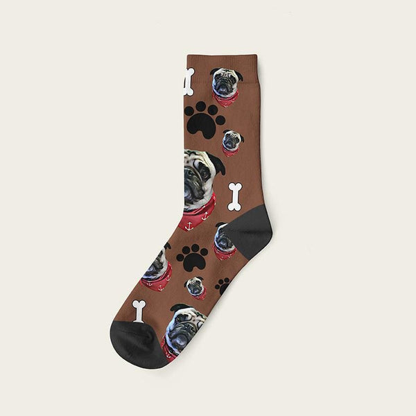 Custom Dog Socks Paws And Bones Crew / Brown