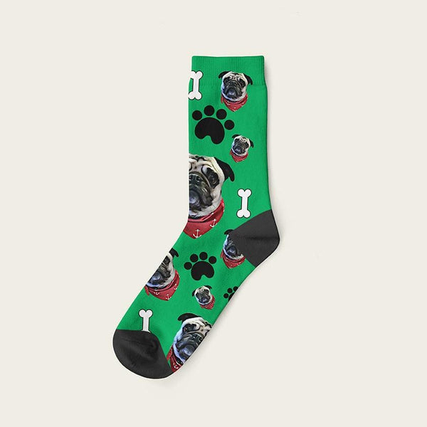 Custom Dog Socks Paws And Bones Crew / Green