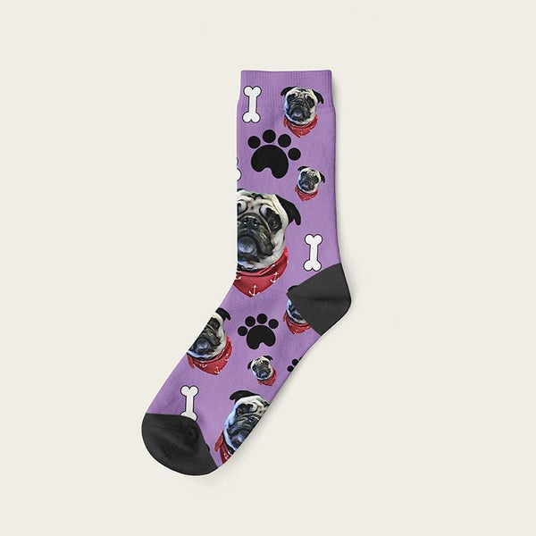 Custom Dog Socks Paws And Bones Crew / Lavender