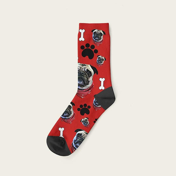 Custom Dog Socks Paws And Bones Crew / Maroon