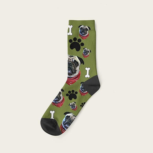 Custom Dog Socks Paws And Bones Crew / Olive