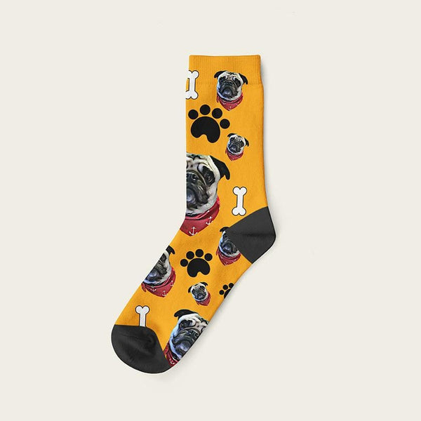 Custom Dog Socks Paws And Bones Crew / Orange