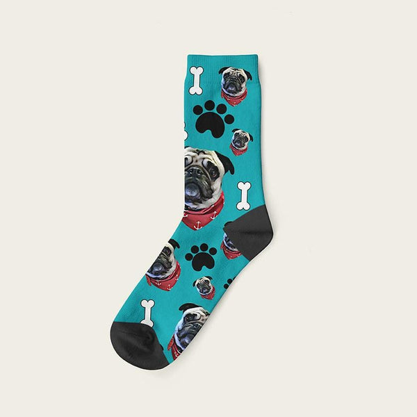 Custom Dog Socks Paws And Bones Crew / Teal