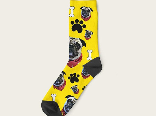 Custom Dog Socks Paws And Bones Crew / Yellow