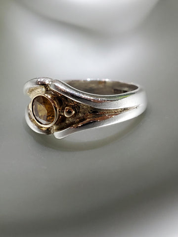 Sterling Silver & 14K Gold, Yellow Sapphire Ring