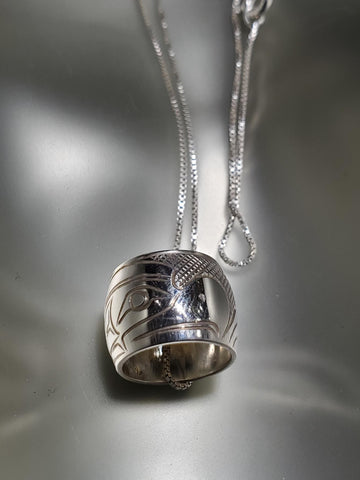 Sterling Silver 'Thunderbird' Large Spirit Bead Necklace