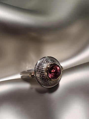 Sterling Silver & 14K Gold, Pink Tourmaline Ring