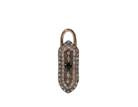14K Rose Gold & Sterling Silver With Blue/Green Tourmaline & White Diamonds Elongated Small Shield Charm