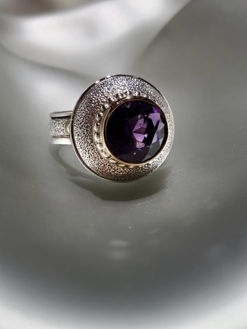 Sterling Silver & 14K Gold, Amethyst Ring