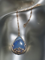 14K Yellow Gold, Blue Opal Filigree Necklace