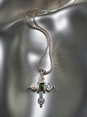 Sterling Silver & Green Tourmaline Cross Necklace