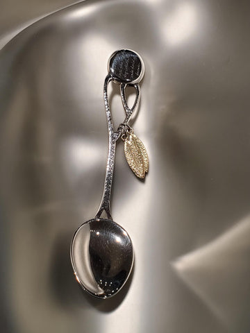 Sterling Silver & 18K Gold Hand Engraved Spoon