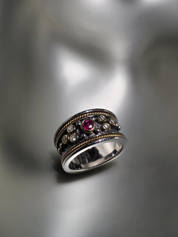 Oxidized Sterling Silver & 18K Gold, Diamond & Ruby Ring