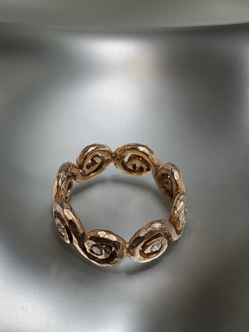 18K Pink Gold, Diamond Eternity Crushed Scroll Ring