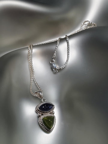 Sterling Silver, Iolite & Peridot Necklace