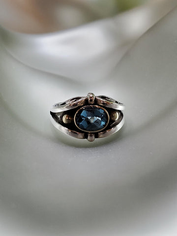 Sterling Silver & 14K Gold, Blue Topaz Ring