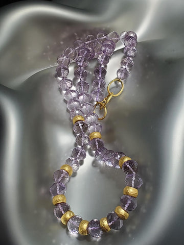 18K Gold 8MM Rondells With Carved Lavender Amethyst Necklace
