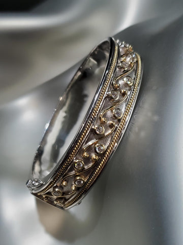 Sterling Silver & 18K Gold, Diamonds Etruscan Cuff