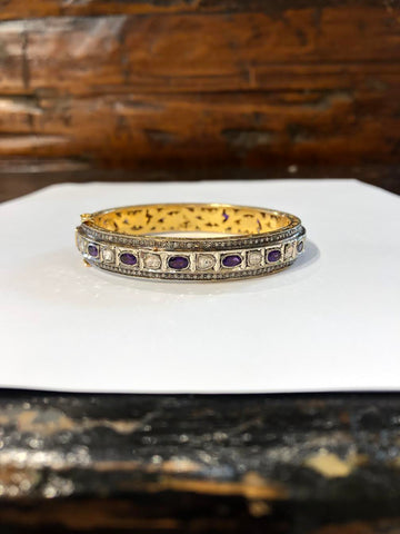 Sterling Silver 18K Gold Amethyst & Indian Diamond Bracelet