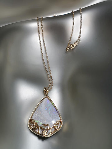 14K Gold, White Opal Filigree Necklace