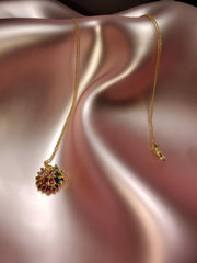 18K Gold Mossy Rainbow Sapphire Dome Disc Necklace