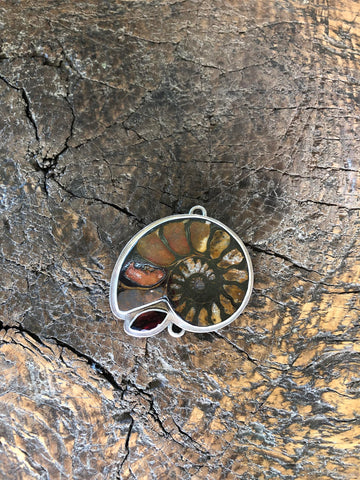 Sterling Silver Ammonite & Garnet, One Of A Kind Pendant Clasp