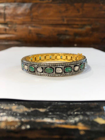 Sterling Silver & 18K Gold Emerald & Indian Diamond Bracelet