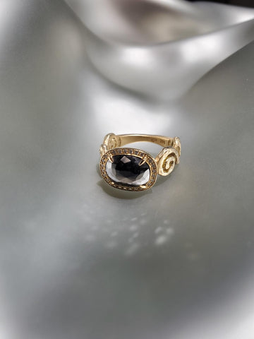 18K Yellow Gold, Black Diamond With Pave White Diamonds, Scroll Ring