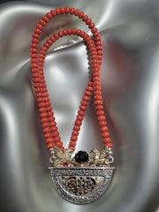 "Sterling Silver & 14K Gold, Coral & Onyx ""Security"" Necklace"