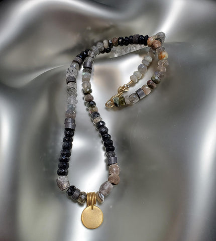 24K Gold & Sterling Silver, Rutilated Quartz, Labradorite, Tourmaline, Onyx & Agate Beaded Necklace
