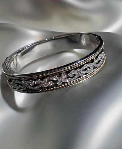 Antiqued Sterling Silver & 18K Gold, Diamonds Etruscan Cuff
