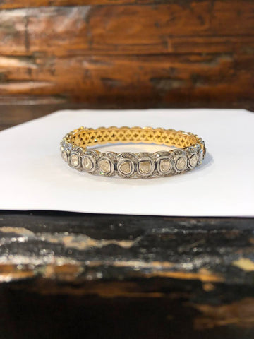 Sterling Silver & 18K Gold Indian Diamond Bracelet