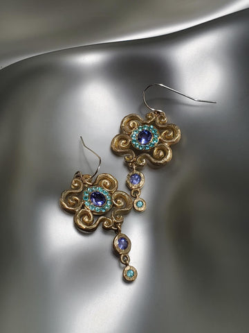 "18K Yellow Gold, Tanzanite & Paraiba Dainty ""Arabesque Dangle"" Earrings"
