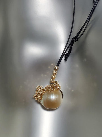 14K Gold, Yellow South Sea Pearl Cord Necklace