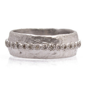 Sterling Silver Champagne Diamond Wide Artifact Stack Ring