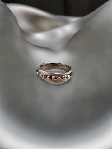 18K White Gold, Rainbow Sapphire Eternity 'Pinched' Ring