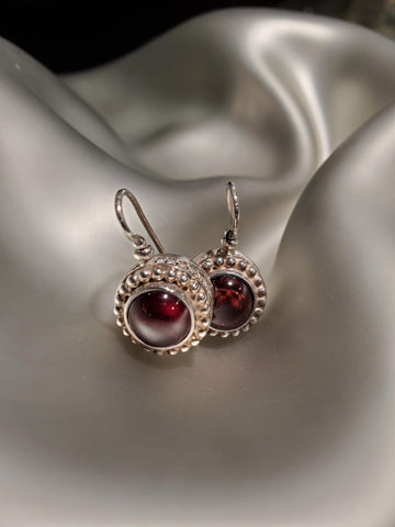 Sterling Silver Garnet Cabochon Earrings
