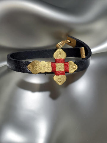 22K Gold Hand Carved Georgian Cross With Red String On Leather Bracelet