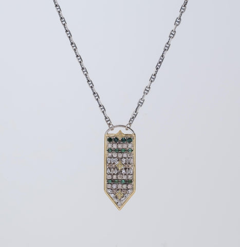 18K Gold & Sterling Silver, Blue/Green Tourmaline, White Sapphire Baguettes, Champagne Diamonds Shield Pendant