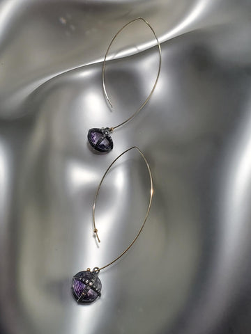 14K Gold & Oxidized Sterling Silver, Diamonds, Rose Of France Earrings