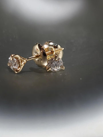 14K Yellow Gold With 0.25CT Diamond Martini Studs