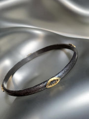 18K Gold & Oxidized Sterling Silver With Diamonds Margaret Bangle