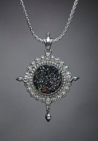 Sterling Silver, Round Leopard Opal Necklace