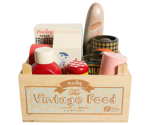 Vintage Food in Grocery Wooden Box
