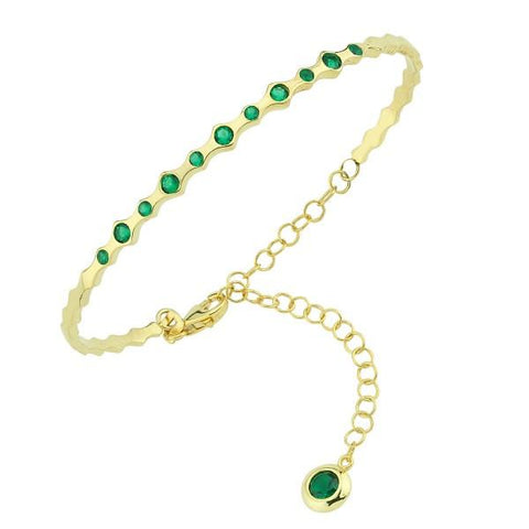 Vermeil Green CZ Slim Bangle