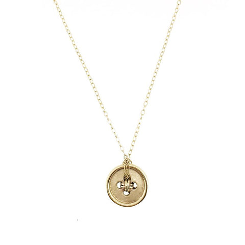 14K Gold Cute As A Button Necklace