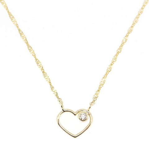 14K Yellow Gold & Diamond Heart Necklace