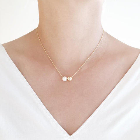 "14K Yellow Gold 16"" Pearl Duo Pendant Necklace"