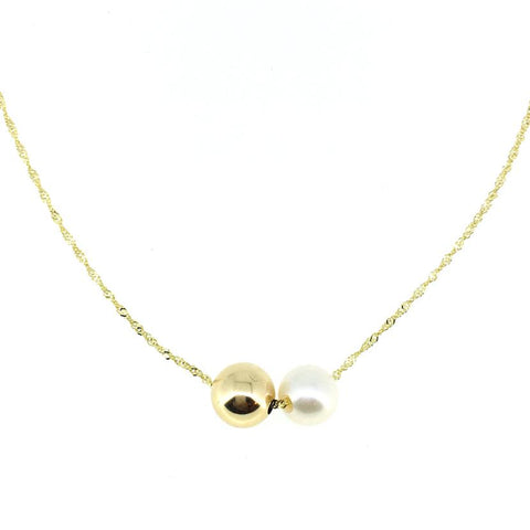 14K Yellow Gold Pearl Duo Pendant Necklace